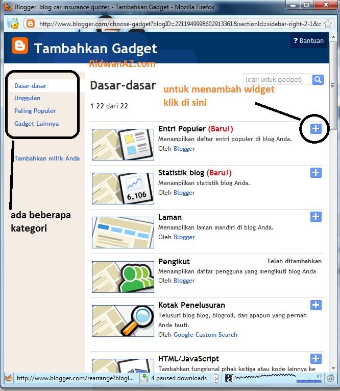 cara menambah widget sidebar pada blog di blogspot
